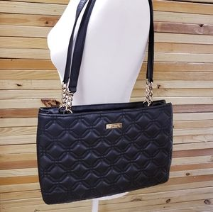 Kate Spade New York Quilted Leather Shoulder Bag Triple Compartment